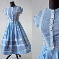 50's Vintage Periwinkle Blue Dress Sheer Cotton Voille Full Skirt Rockabilly Bride Something Blue Wedding