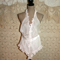 Valentines Day Lingerie Pink Silk Ruffled Teddy Sexy Wedding Honeymoon Zipper Halter Style Victorias Secret Bust 32-34 Small Womens Clothing