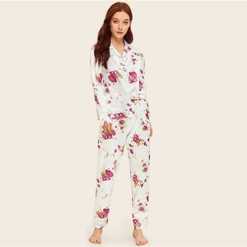 Floral Print Satin Pajama Set Women Clothes Button Long Sets Pocket Long Sleeve Pajama Sets NightWear