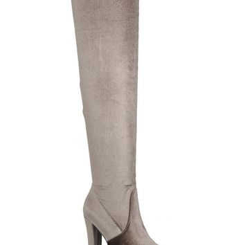 Velvet Over The Knee Boots - Taupe