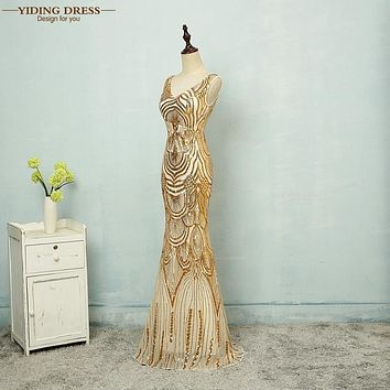 YIDINGZS Gold Sexy Mermaid V Neck Sequined Long Evening Dresses Fashion Prom Party Dresses