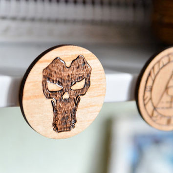 Death  Rider Woodburned Magnet - Darksiders 2 Pyrography Magnet - Geek Videogame Gift