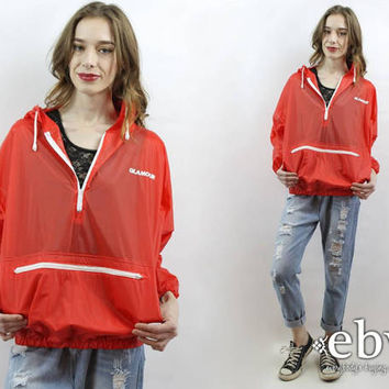 Glamour Windbreaker 90s Anorak 90s Windbreaker 90s Pullover Red Windbreaker Red Rain Jacket Hooded Windbreaker Sheer Red Windbreaker