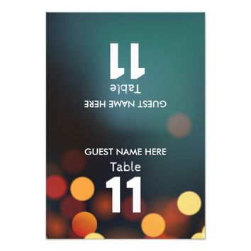 Teal Gold Bokeh Lights Wedding Table Number Folded