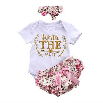 3Pcs Infant Baby Girls Summer Clothes Short Sleeve Letter Romper Floral triangular pants +Headband Outfits Set 0-24 M
