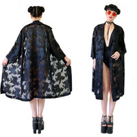 vintage 90s grunge burnout kimono ultra draped duster jacket gothic grunge robe sheer cutout floral print festival medium large