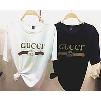 Gucci Women Men Hot Letters Print T-Shirt Top Tee Loose Blouse I