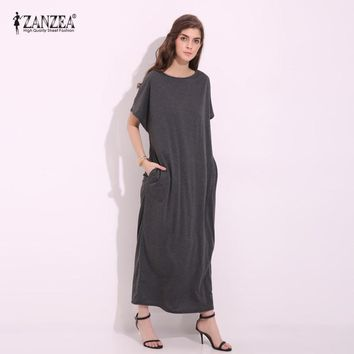 ZANZEA 2017 Womens Summer Round Neck Short Sleeves Loose Casual Party Solid Maxi Long Dress Kaftan Cotton Linen Vestido S-XL