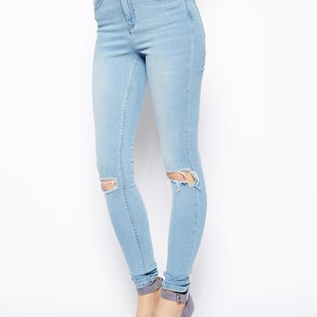 ASOS Ridley High Waist Ultra Skinny Jeans in Watercolour Light Wash Bl