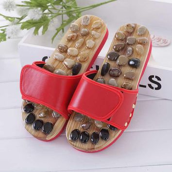 Pebble Stone Foot Massager Sandals Reflexology Feet Acupuncture Healthy Shoes