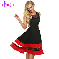 FINEJO Women Fashion Sleeveless Party Dress See-through Organza Patchwork Contrast Color A-Line Midi Evening Dresses Plus Size