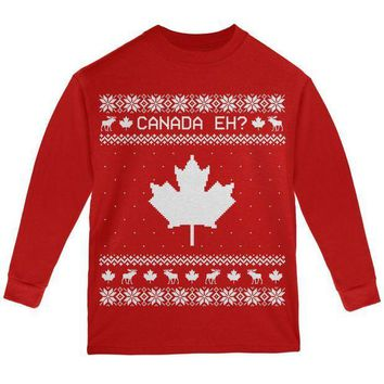 PEAPGQ9 Canadian Canada Eh Ugly Christmas Sweater Youth Long Sleeve T Shirt