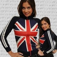 "British Flag - Union Jack Ladies Zip Jacket Size 36"" Large"