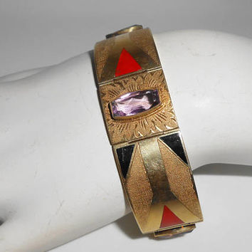 14K Art Deco Amethyst Enamel Panel Bracelet Vintage 1920's-1930's Fine Jewelry Yellow Gold Gift for Her