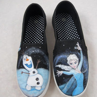 Custom Hand Painted Shoes- Frozen - Olaf and Queen Elsa