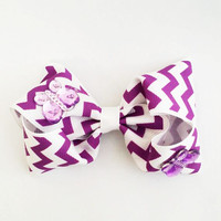 Purple Chevron Butterfly Bow