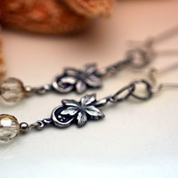 Vintage Style Silver Leaf and Crystal Dangle Earrings with Kidney Earwires