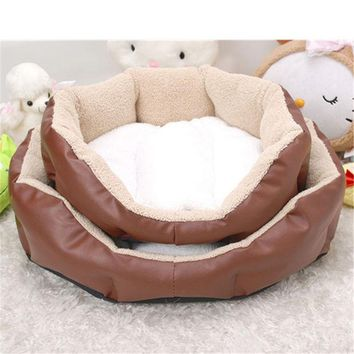 DCK9M2 Octagonal Pet Dog kennel indoor Puppy Cat Bed Fleece Warm House Plush Mat and leather Pet Products cat Supplies unpick and wash