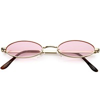 Small 1990's Retro Color Tone Metal Oval Sunglasses C595