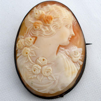 Antique Sterling Silver Cameo Brooch Shell Victorian Hand Carved