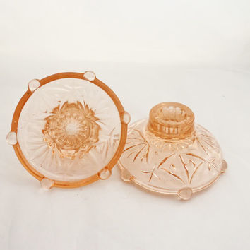 Vintage Art Deco Peach Glass Candle Holders, Depression Pink Glass Candlestick , UK Seller
