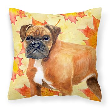 German Boxer Fall Fabric Decorative Pillow BB9901PW1414