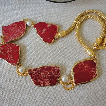red and gold necklace, red statement necklace, jasper necklaces, sea sediment jasper, cultured pearls, gold plated, women unique necklaces