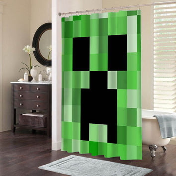 Minecraft special custom shower curtains that will make your bathroom adorable.
