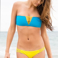 The Girl and The Water - Mary Grace Swim - Luna Top Sunshine/Blue Sea - $88