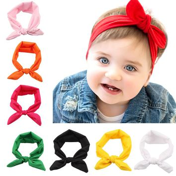 Children Turban Knitted Knot Hair Baby Printing Knot Headbands Bands Girls Ribbon Elasticity Hair Accessories Headwear Headdress