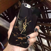 Fashion YSL Printed Black Marble Case for iPhone7 7Plus & 6 6s Plus & 5s