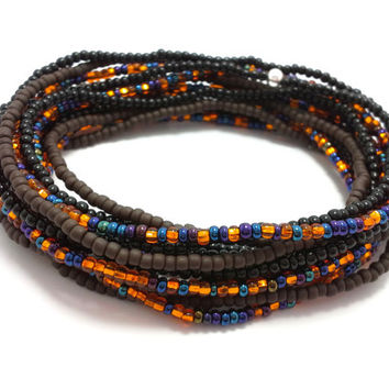 Seed bead wrap stretch bracelets, stacking, beaded, boho anklet, bohemian, stretchy stackable multi strand, black brown blue orange