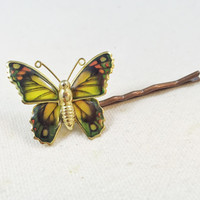 Yellow butterfly bobby pin, hair pin, vintage butterfly, hair clip, upcycled enamel butterfly brooch pin