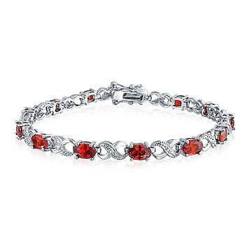 Infinity Tennis Bracelet Oval Cut CZ Rose Gold Plated Silver Plated