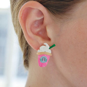 Starbucks Cotton Candy Frappuccino Polymer Clay Earrings