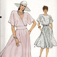 Vogue 8970 Sewing Pattern Retro 80s Loose Fit Garden Tea Dress Deep V Neckline Flared Skirt Flutter Sleeves Wide Waistband Uncut FF Bust 34
