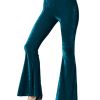 Cerulean Blue Velvet Stretch Waist Flared Pants