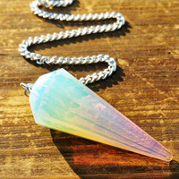 1pcs. Opalite Crystal Pendulum ~ Perfect for Crystal Healing, Reiki, Dowsing, and Energy Balancing EH7