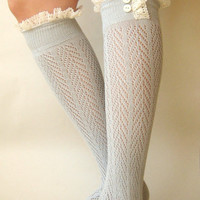 Dove Grey chevron  openknit socks  by GraceandLaceCo