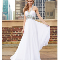 Madison James 15-103 White Beaded Bodice Grecian Dress 2015 Prom Dresses