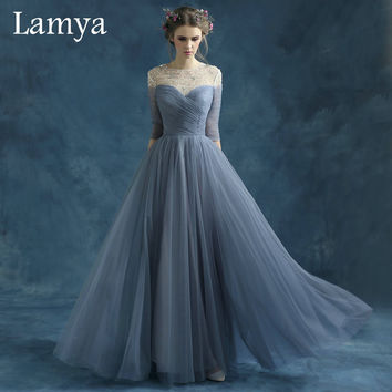 New Arrived Sexy see-through Long Chiffon With Crystal Prom Dresses Long Sleeve A Line Evening Party Dress WD1683