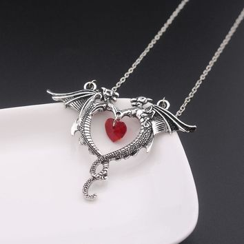 RJ Vintage Game Of Thrones Double Dragon Necklace Vampire Diaries Punk Rose Flower Devil Red Heart Pendant Women Lady Necklaces