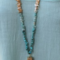 Bangles Boutique — TURQUOISE & IVORY BEADED LEATHER NECKLACE WITH BONE PENDANT