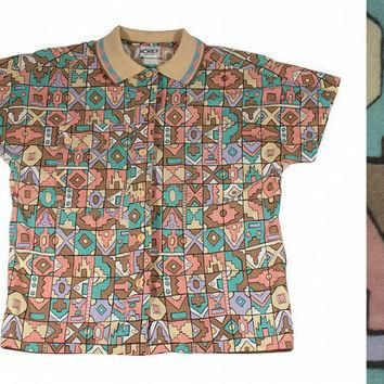 Spring Pastel Aztec Tribal Button Up Polo Shirt by TheBabyDynosaur