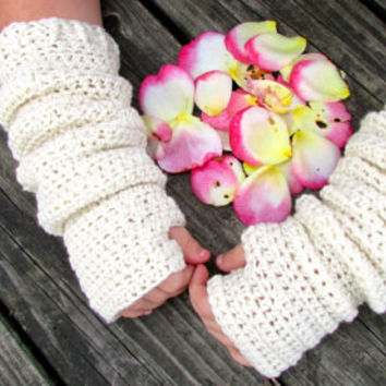 Slouchy Arm Warmers, Long Sleeves, Cream, Off White Fingerless Gloves, Texting, Winter Accessories, Back to School, Teen Adult Arm Warmers