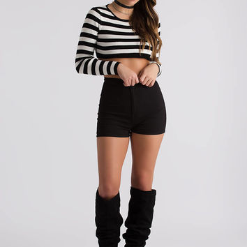 Hey Shorty Striped Rib Knit Crop Top