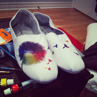 Colourful Blowing Dandelion Canvas Shoes