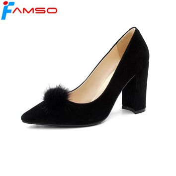 FAMSO 2018 New Spring Arrival Women Pumps Black Apricot Tassel High Heels Prom Genuine Leather Pumps Shoes For Women's Pumps