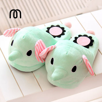 Millffy 3D animals Elephant circus mint green plush floor home home warm slippers cartoon drag at home slipper shoes woman