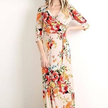 """Creme De La Creme"" Floral Wrap Maxi Dress [NEW Colors]"
